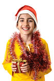 Child boy Christmas present Royalty Free Stock Photo