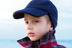 Child boy close up fashion portrait upturned collar Stock Photo