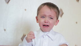 Child boy is crying. stock footage
