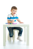 Child boy drawing by felt pen Royalty Free Stock Photos