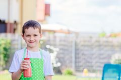 Child boy drinking strawberry smoothie. From glass with straw Stock Images