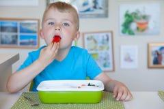 Child boy eating fresh vegetable salad. Child boy eating fresh vegetable royalty free stock images