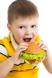 Child boy eating hamburger isolated Stock Images