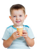 child boy eating ice-cream isolated Stock Photo