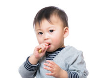Child boy eating snack Stock Photography