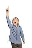 Child boy excited. Finger up Stock Image