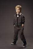 Child boy fashion studio portrait, kid smart casua Stock Photo
