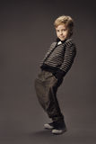 Child boy fashion studio portrait, kid smart casual clothing, ha Stock Photos