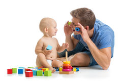 Child  boy and father playing together Royalty Free Stock Photos