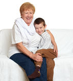 Child boy and grandmother on white, happy family concept Royalty Free Stock Photography
