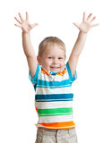 Child boy with hands up isolated Stock Photo
