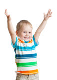 Child boy with hands up on white background Stock Images