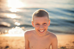Child boy happy smile with teeth braces Stock Photography