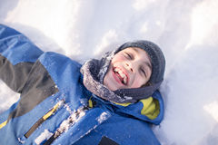 Child Boy Having Fun in the Canadian Winter Royalty Free Stock Photo