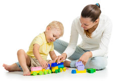 Child boy and his mother play Stock Photo