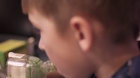 Child boy with inhaler stock video footage