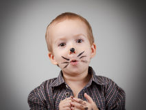 Child boy kid with cat makeup. Humor and fun, happy childhood. Child boy kid with cat makeup. Game and drawing. Humor and fun, happy childhood royalty free stock image