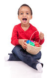 Child Boy kid holding up his easter basket Stock Image