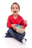Child Boy kid holding up his easter basket Stock Image