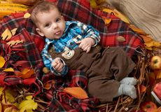Child boy lie on tartan plaid with yellow autumn leaves, apples, pumpkin and decoration, fall season Royalty Free Stock Photo