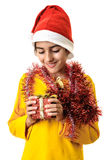 Child boy looking Christmas present Royalty Free Stock Photo