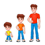 Child, boy and man, description of age. Vector isolated characters Royalty Free Stock Image
