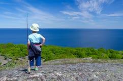 Child boy plans fishing Royalty Free Stock Photos