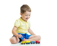 Child boy playing with toys Royalty Free Stock Photography