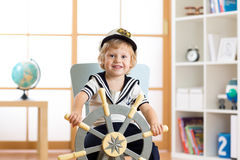 Child boy in sailor hat - adventure and travel concept. Stock Photography