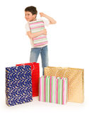 Child boy with shopping bag Royalty Free Stock Photos
