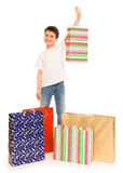 Child boy with shopping bag Stock Image