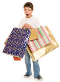 Child boy with shopping bag Royalty Free Stock Image