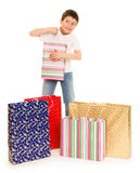 Child boy with shopping bag Royalty Free Stock Photography