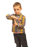 Child boy showing time out Stock Photo
