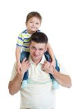 Child boy sitting on dad's shoulders isolated Stock Photos