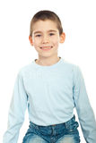 Child boy smile. Child boy sitting on chair and showing his smile with new teeth over white background Stock Photos