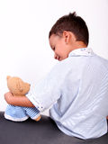 Child boy with teddy bear Stock Photo