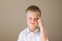 Child (boy) thinking Stock Photo