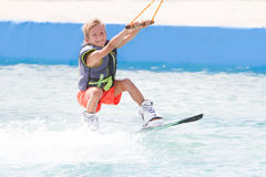 Child boy wake boarding Royalty Free Stock Images