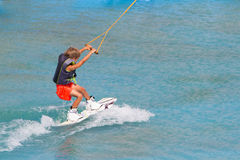 Child boy wake boarding Stock Image