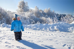 Child the boy on walk in the winter in park Stock Photography
