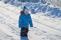Child the boy on walk in the winter in park Royalty Free Stock Image