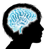 Child brain concept. A childs head in silhouette with a glowing brain. Concept for child mental, psychological development, brain development, learning and Royalty Free Stock Photos