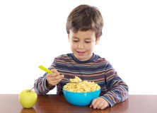 Child breakfasting Royalty Free Stock Images