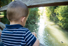 Child on a bridge. A child with his back to the camera looking out a wooden railing Royalty Free Stock Image