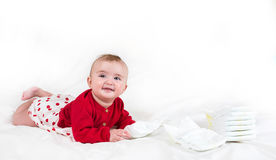 The child in bright clothes Stock Photo