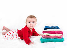 The child in bright clothes Stock Image