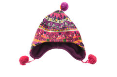 Child bright winter cap. Isolated over white Stock Images