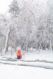 Child and broke down tree of snow. Vertical view with child sitt Royalty Free Stock Images