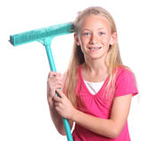 Child with broom Stock Photo